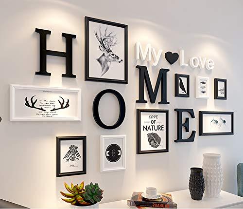 MUZIDP Massivholz Fotowand,Kreativ Foto-Rahmen-Wand Bild Rahmen Collage Für Wohnzimmer Restaurant Hintergrundwand-B - Collage Bilderrahmen Wand