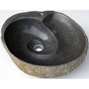 Guru-Shop Boulder Fregadero con Espiral de Drenaje Sobre 50 cm, Piedra, Lavabos, Bañeras Fregaderos