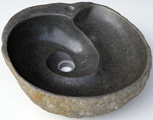 Guru-Shop Flußstein Waschbecken mit Spiral-Abfluß ca. 50 cm, Waschtische, Waschbecken & Badewannen