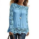 BHYDRY Mode Damen Langarm-Shirt Casual Spitze Bluse Lose Baumwolle Tops T-Shirt(4XL,Hellblau)