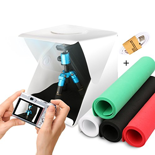 Galleria fotografica AFAITH Tenda studio fotografico portatile e pieghevole con 20 luci led, Inclusi nella confezione kit da 4 sfondi colorati (bianco nero rosso verde) - 30*30cm AF033