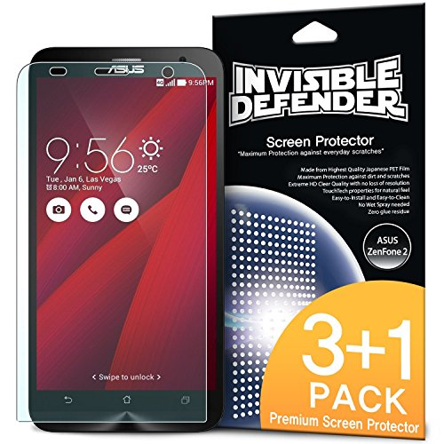 ASUS Zenfone 2 Schutzfolie Invisible Defender (4 Pack/ Maximale HD Klarheit) Displayschutz Lebenslange Garantie, perfekte Touch Präzision, High Definition (HD)