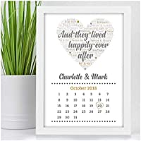 Personalised Wedding Gifts for Bride & Groom And They Lived Happily Ever After Wedding Calendar Date Keepsake Gifts - A5, A4, A3 Prints and Frames - 18mm Wooden Blocks - FREE Personalisation