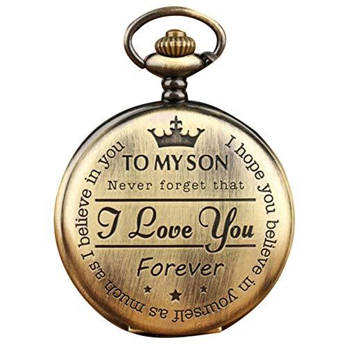 yeehao Quarz-Taschenuhr-Ziffer zu Meinem Sohn Love Roman Round Display Vintage mit Geschenkbox
