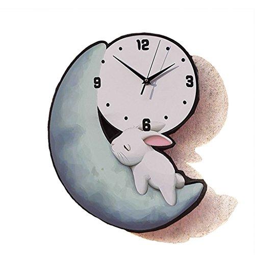 Horloges Lune Lapin Bois Murale école Maternelle silencieuse 16 Pouces