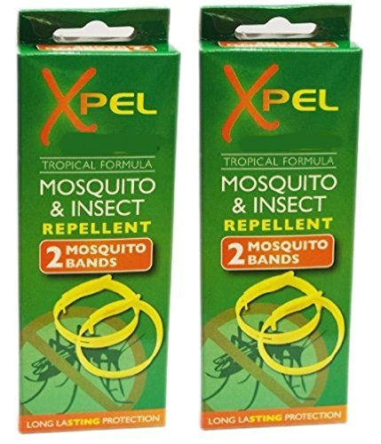 Preisvergleich Produktbild 2 X 2 x Adult Xpel Tropical Formula Mosquito / Insect repellent bands (DEET FREE) by Xpel