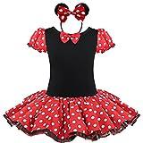 YiZYiF Mädchen Kinder Kostüm Ballettkleid Geburtstag Party Karneval Fasching Cosplay Halloween Kostüm Kleid mit Ohren (80-86, Rot)