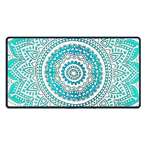 hanbaozhou Fußmatten Large Mouse Pad Green Flower Computer Mouse Mat (29.5x15.7x0.1IN,75x40CM) -