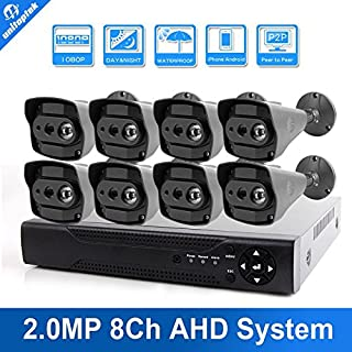 ARBUYSHOP 8CH 1080P AHD DVR 8PCS Bullet 2.0MP IR 10M Waterproof/Outdoor/Vandal-proof Video Home Security AHD Camera System 8CH DVR Kits