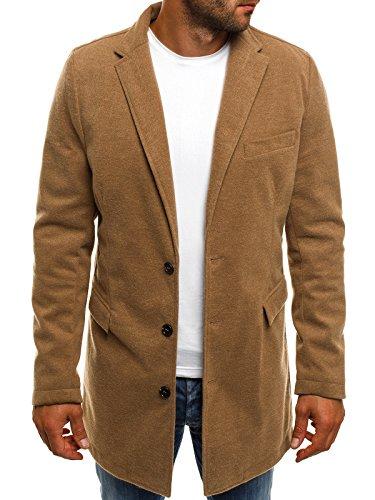 OZONEE Herren Mantel Wintermantel Winterjacke Sakko Coat Stehkragen J.BOYZ 1047 BEIGE XL