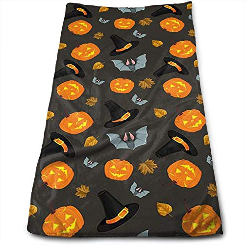 ERCGY Halloween Witch Hat Face Hand Towels Microfiber Sport Towels for Sports, Hair Care, Cosmetology, Cleaning, Furniture Makeup Removing Cloths Fast Drying 27.5 X 12 Inch.