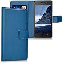 kwmobile Funda para Huawei Ascend Y635 - Wallet Case plegable de cuero sintético - Cover con tapa tarjetero y soporte en azul oscuro
