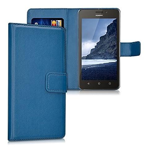 kwmobile Housse en cuir synthétique élégante pour Huawei Ascend Y635 avec fermeture aimantée et fonction support en bleu foncé