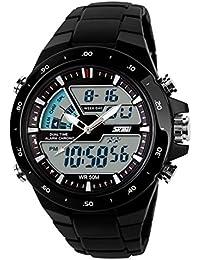 27e32e9721d9 Meily Hombre de pantalla dual impermeable multifunción LED reloj deportivo  Alarma Nuevo (negro)