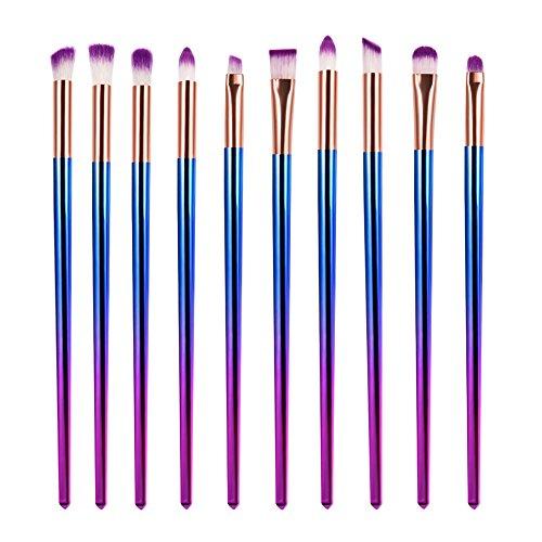 oshide Lot de 10 pinceaux à maquillage yeux Pinceaux Professionnel eyeb Rush en nylon premium cheveux (Bleu/Violet)