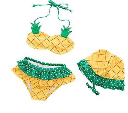 dchen Bad Kostüm Schöne Mädchen Ananas 2 Stück Bikini Set mit Hut (Ananas Hut Kostüm)