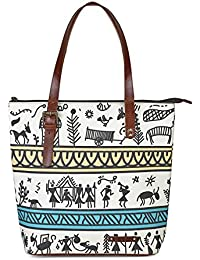 Kantha Handcrafted Leather And Canvas Tribe Art Printed Women Tote Handbag With Adjustable Handle