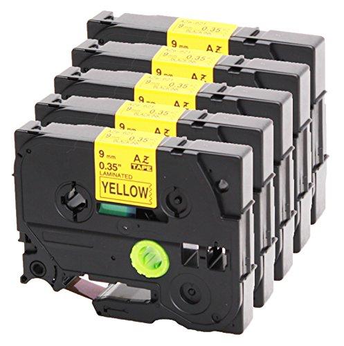 5x Nastro Tape Cassette per Brother TZe - 621 9 millimetri nero su giallo 9 millimetri di larghezza x lunghezza 8m compatibile con TZ628