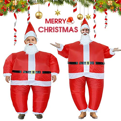 Home Kostüm Made Disney - Ohwens Christmas Inflatable Santa Claus,Blow-Up Yard Decoration Outdoor Indoor, Huge Santa Claus Inflatable Costume Adult Funny Blow Up Suit Cosplay for Christmas Party (S:4-5 ft/L: 5-6.3 ft)