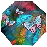 WILHJGH Ombrello Pieghevole Automatico a Farfalla Profonda Protezione UV Ombrello apribile a Chiusura Automatica