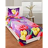 Deewan Home Furnishing Like Cotton Purple Clour With Yellow & Red Flower Single Bedsheet With 1 Pillow Cover GSM-150 To 180, TC-180 Size-90x60 Inches Pillow Size-17x27 Inches