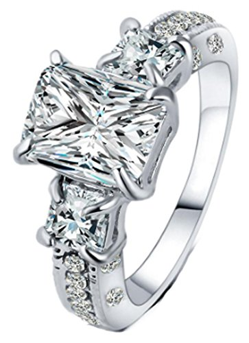 SaySure Crystal Rings Women Gold Color Clear Zircon (SIZE : 7)