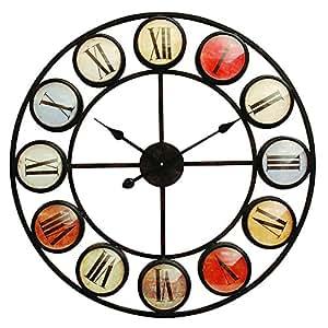Smarty Fer Horloge murale | Grande Horloge murale en métal Horloge en métal | couleur | Cadre rond en métal Horloge murale