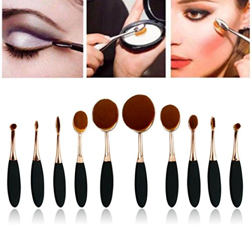 Ouneed® 10PC / set brosse sourcils fondation eyeliner lèvres brosses ovales (or)