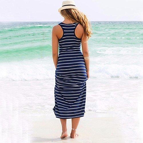 Robe Femme Automne ete 16 Cocktail Grande taille Sans manches à rayures en vrac Robe longue Beach Party Sundress Casual Bleu