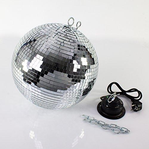 showking - Discokugel-Set GLIX FEVER mit Drehmotor und Kette, Ø 30 cm, silber - Spiegelkugel mit Motor und Extras