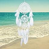 Soledi® Atrapasueños 3Círculos tradicionales blanco plumas Atrapasueños indio colgante de pared decoración adorno regalo