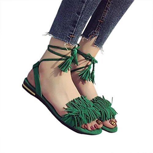 Chanclas de mujer,❤️Ba Zha Hei Borla de correa de moda plana con sandalias de punta abierta de verano Cómodo Peep Toe Plataforma Cuñas Sandalias Zapatos de shoes mujer Verano 2018 (35, Rojo)