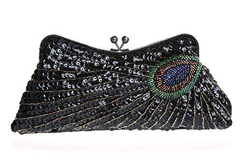 Modello di pavone mano bag/ borsa da sera moda/ paillettes borsa (Ricamato Floreale Frizione)
