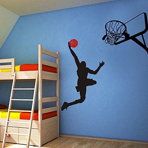 Wandtattoo Basketball T?tigkeit Wand-Dekor Dunking Ball ins Netz Vinylwand Kunst Custom Home Grafik Aufkleber Design (X-Large,custom) (Basketball-wand-kunst)