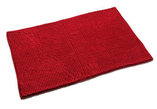 Quantum Interior Chenille Badematte 60x90 - moderner Microfaser Badvorleger in Trendfarben - schnell trocknend (Rot) -