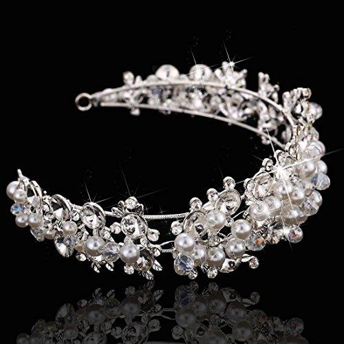 SODIAL(R) Adornos del pelo de novia de boda de lujo banda de pelo nupcial de diamante de imitacion vestido de cabeza accesorio para el cabello recepcion de boda fiesta ceremonia de boda
