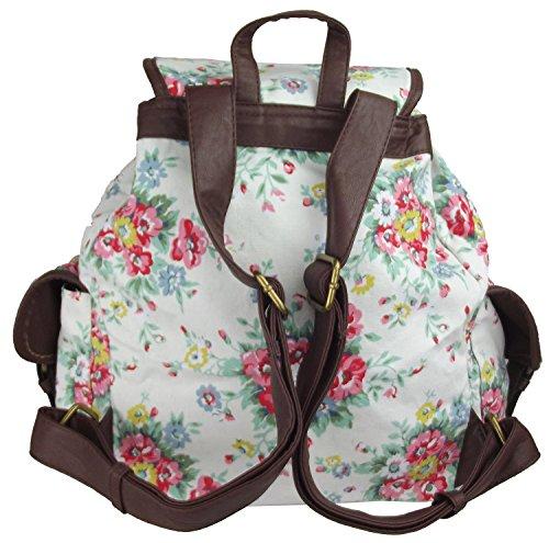 UKFS Blumen Drucken Florence/Polka Dot Rucksack / Twin Tasche-Rucksack Floral Beige