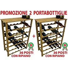 2 pz Mobile cantinetta portabottiglie in legno noce marrone 36+36 posti porta bottiglie vino