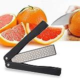 ACCOCO Couteau de poche taille-crayon, 400/600 Grit pliant diamant couteau aiguiseur double face pierre à aiguiser pour Camping en plein air cuisine jardin