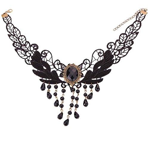 Yazilind Schmuck Graceful Black Blattform Spitze Design Bead Kette Kragen Halskette für - Selbst Gemachte Karnevalskostüm