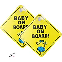nuoshen 2 pcs Baby on Board Car Warning, Baby On Board Warning Signs Baby on Board Sticker Sign for Car Warning with Suction Cups, Removable