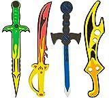Piraten-Schwert Schwerter-Set 4 Seeräuber aus EVA Soft Schaum schadstoffgeprüfte Spielzeug-Waffen für Kinder 41cm