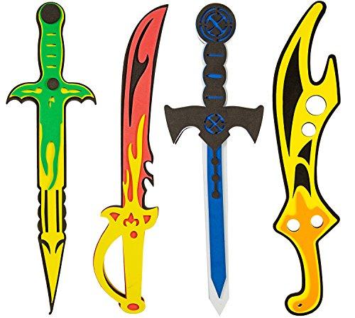 Piraten-Schwert Schwerter-Set 4 Seeräuber aus EVA Soft Schaum schadstoffgeprüfte Spielzeug-Waffen für Kinder ()