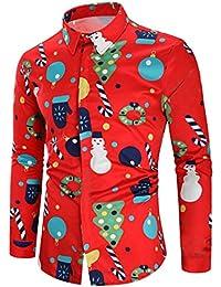 Eghunooye Chemises de Noël Moche pour Hommes, T-Shirts boutonnés à Manches  ... 0d207fd0077