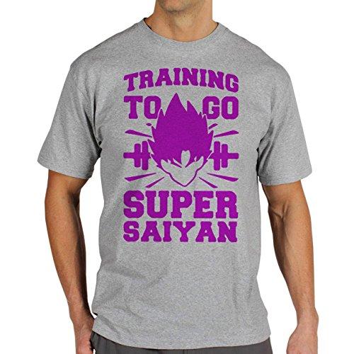 Training To Go Super Saiyan Sport Dragon Ball Goku Purpple Herren T-Shirt Grau