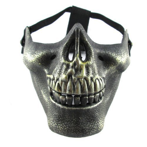 (The Rubber Plantation TM 520193368096 Gold/Bronze brüniert Effekt Skull Totenkopf Skelett Kiefer Militär Airsoft paintball Soldier Half Face Schutz Maske Halloween Fancy Kleid, Unisex, ONE SIZE)