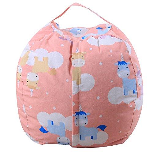 Kinder Stofftier Plüsch Spielzeug Speicher Bean Bag Soft Pouch Streifen Stoff Stuhl Plüschtiere Aufräumsack Spieldecke Speicher Tasche Soft Pouch Stoff Stuhl mit reißverschluss (Mehrfarbig, A) - Soft-plüsch Plüschtiere