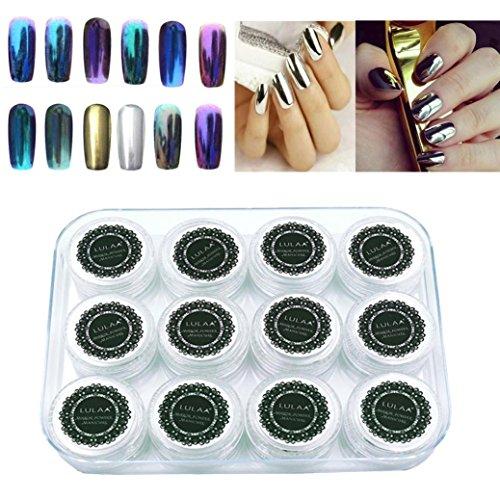 Tefamore 12 couleurs ongles brillant brillant ongles miroir poudre maquillage Art DIY Chrome[Multicolore]
