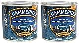 Hammerite Metallschutzlack 0,5l / 2x 250ml Set/dunkelblau - hammerschlag