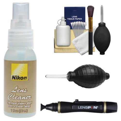 Nikon Lens Cleaner Fluid Spray Bottle (1oz/30ml) with Blower + Lenspen + Cleaning Kit for D3100, D3200, D5100, D5200, D600, D800, D4 Digital SLR Cameras